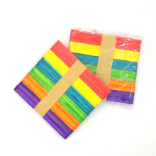 Factory sale high quality 114mm*10mm*2mm colorful wooden popsicle sticks for ice cream