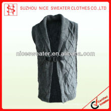Fashion sleeveless vest style men's wool vests with collar
