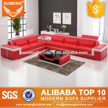 Haute qualité bonne vente meubles de luxe style italien en cuir véritable ensemble de canapé d'angle