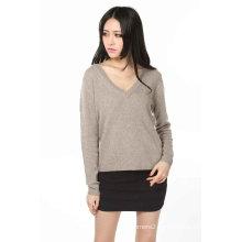 Ladies V Neck Fashion Cashmere Sweater