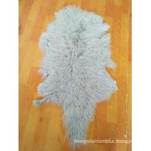 Curly long hair Mongolian sheep fur pelt real Lamb fur skin