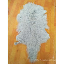 Cheveux longs bouclés Peau de mouton mongole fourrure véritable Peau de fourrure d'agneau