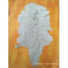 Cabelo longo encaracolado pele de pele de ovelha mongol pele de pele de cordeiro