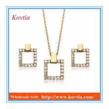 18k Gold überzogene Schmucksachesätze dubai kundenspezifische Schmucksachesatzquadratform cz-Diamantsätze
