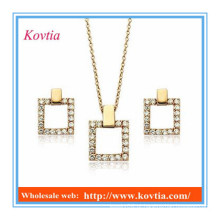 Jóias banhado a ouro 18k dubai conjunto de jóias personalizadas forma quadrada cz diamante conjuntos