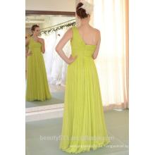 IN STOCK Vestido de fiesta de un solo hombro sin mangas de seda real piso-longitud vestido de baile SE25