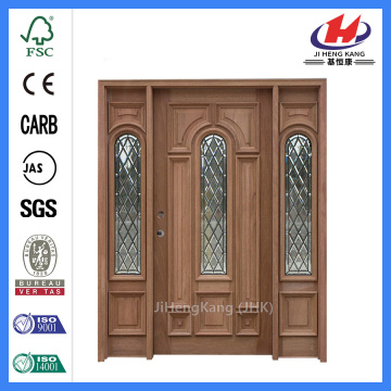 Jhk-012-1 Black Walnut Wood Center Arch Black Nickel Caming Glass Wood Door