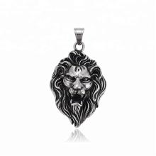 34489 xuping fashion bijoux en acier inoxydable pistolet noir couleur tête de lion croix pendentif