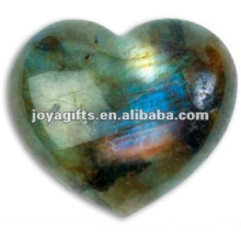 Puffy Heart shaped Labradorite stone 35MM