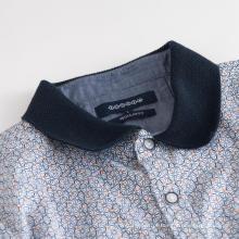 Camisa masculina de malha de gola de manga curta elástica de algodão