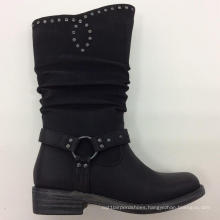 New Style Chuncky Heel Ladies Boot with Plcated (S 14)