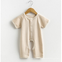 Algodão orgânico manga curta listrada bebê Romper