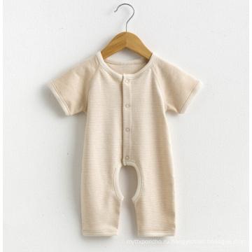 Органический хлопок с короткими рукавами Полосатый Baby Romper