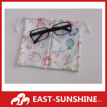 cheap two-side flannel double drawstring bag (pouch) for sunglases /buggy bag
