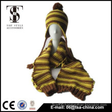 bicolor 100% acrylic knitted scarf & hat sets