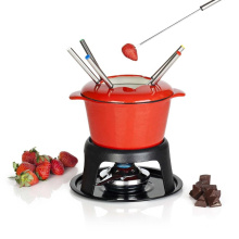 Red enamel cast iron fondue