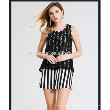 Señoras lindas ropa de encaje a rayas verticales sin mangas sin mangas falsas de dos piezas vestido de las mujeres del verano