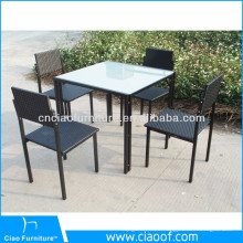 Modern patio outdoor rattan furniture dining table set