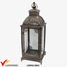 Metal De Vidrio Hierro Linterna Marroquí Antiguo