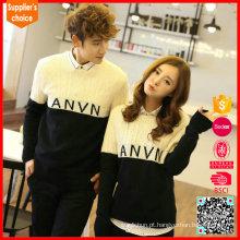 Pullover cabo de malha contraste cor corredor de pescoço casal casal suéter