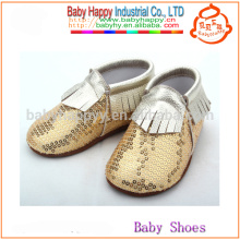 New arrival infant moccasins shoes funny toddler gold sequin baby shoes