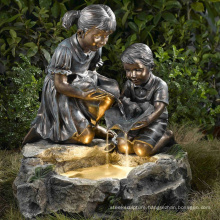 large outdoor garden copper sculptures metal craft child water fountain statues