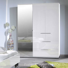 White High Gloss Finish 3 Door Wardrobe with Mirror (HF-EY080195)