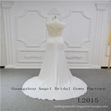 Spaghetti Strap Top Lace Skirt Satin Bridal Dress