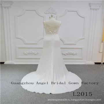 Спагетти Ремень Сверху Кружева Юбка Атласная Свадебное Платье