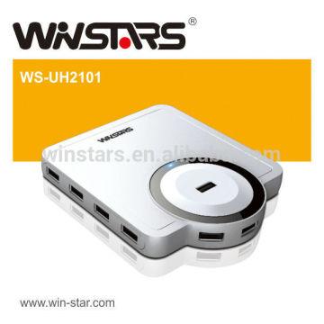 Hub USB 2.0 à 10 ports de 480 Mbps avec adaptateur secteur.Configuration de jeu et de jeu