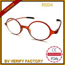 Nueva moda Tr90 ronda marco de gafas de lectura con mucho Temple R004