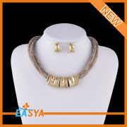 Gold Plated Fashion Statement Necklace Earrings Set Jewelry Set