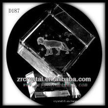 K9 Láser subsuperficial tigre dentro de cubo de cristal