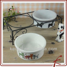 set of 2 ceramic pet feeder with stand
