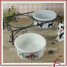 Conjunto de 2 alimentador de animais de estimação de cerâmica com suporte