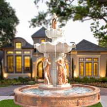 Grand jardin utilisé décoration de fontaine en marbre avec des statues à vendre