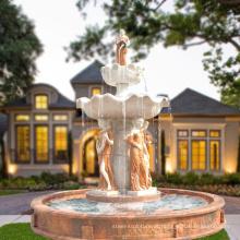 Grande jardim usado decoração de fonte de água de mármore com estátuas para venda
