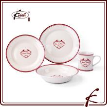 Etiqueta de la decoración de la cerámica de la cena para el alquiler de la boda
