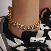 European and American Golden Hip-Hop Cuban Punk Ins Chain Single Thick Chain Hollow Fashion Jewellery Anklet for Women
