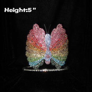 5in rhinestone coloridas coronas de princesa mariposa
