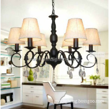 hot sale simple European chandeliers with black iron fabric shade