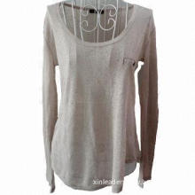 Long-sleeved T-shirt, knitted O-neckline with false pocket on left chest and hot drilling on back