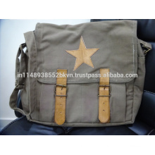 Canvas with Leather Messenger Bag