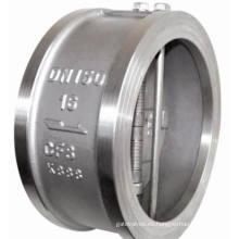 Válvula de retención de doble placa con bridas de acero inoxidable
