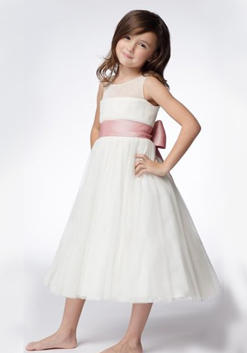 A-line Round Neck Tea-length Organza Ruffled Layers Flower Girl Dresses