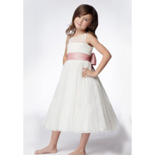 A-line Round Neck Tea-panjang Organza mengacak-acak Layers Dresses Flower Girl