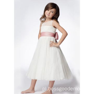 Okrągły dekolt w szpic herbata Organza Ruffled Layers Flower Girl Dresses