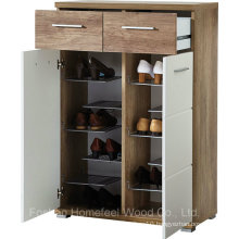 2 Door White Gloss and Oak Shoe Cabinet Organizer (HF-EY08199)