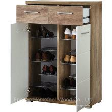 Organizador de gabinete de sapato de linho branco com 2 portas e carvalho (HF-EY08199)