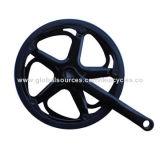 Bike chain wheel with crank, black plastic cover, direct manufacturer/direct export/China madeNew